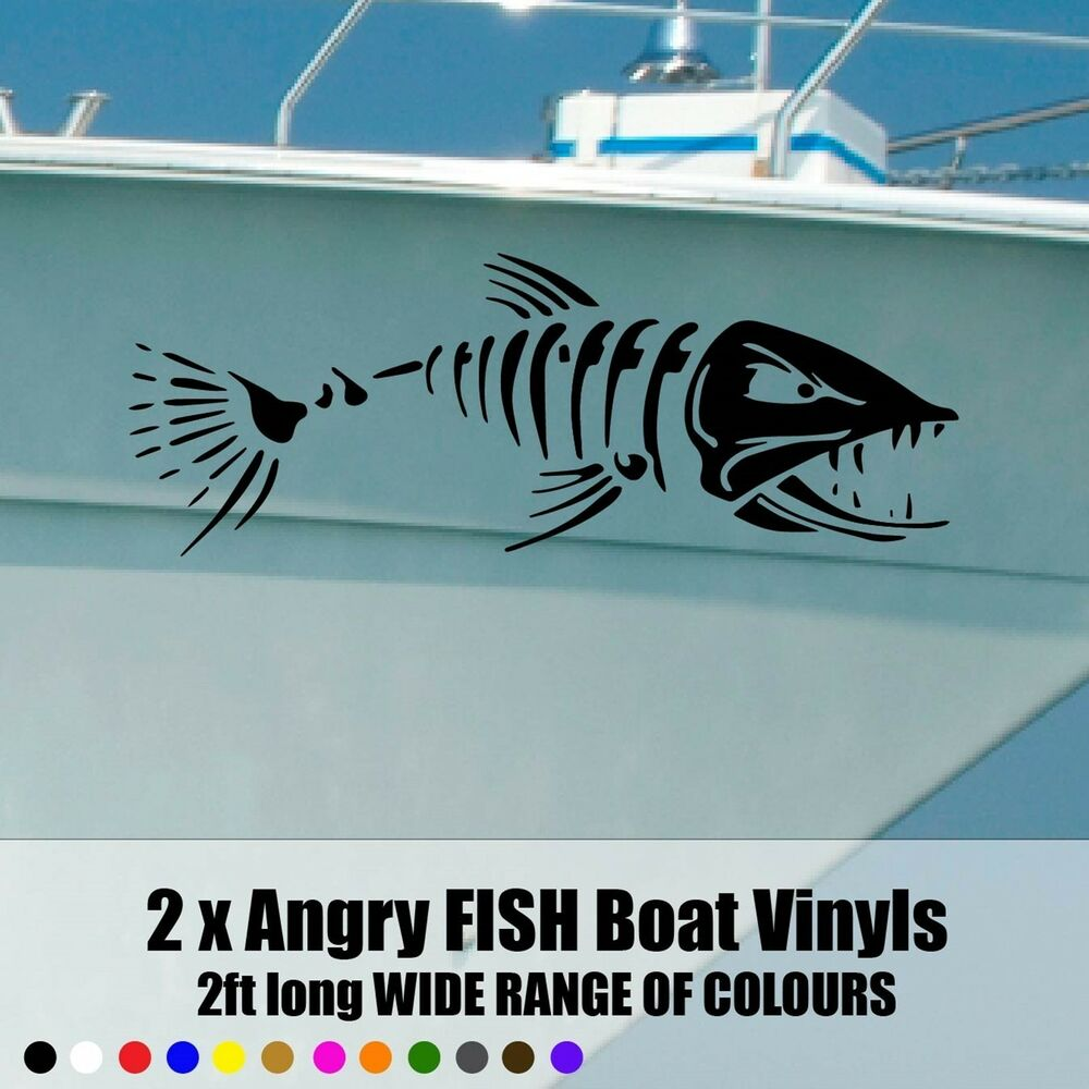 Angry fish boat decals stickers 600x210 2ft long x2 ebay for Fishing boat decals