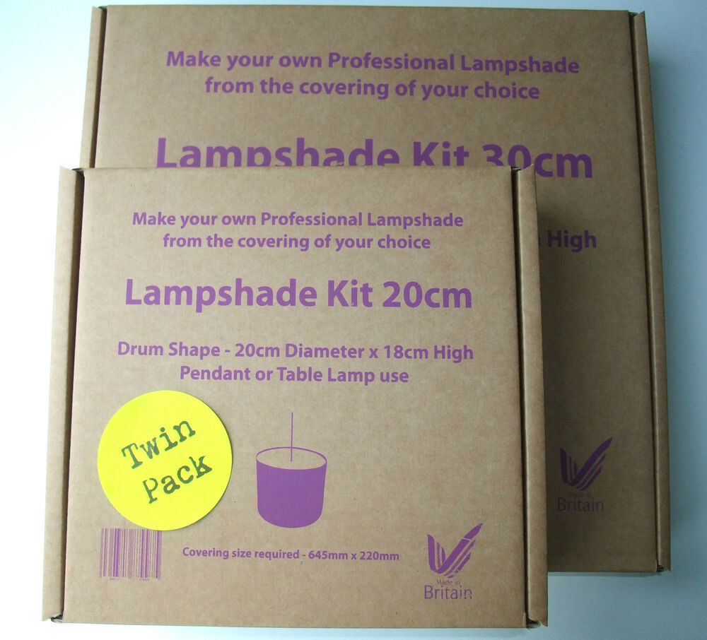TWIN PACK DRUM LAMPSHADE MAKING KIT 2 X PENDANT TABLE LAMP 20CM OR 30CM