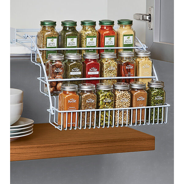 cabinet organizers kitchen rubbermaid pull spice rack organizer shelf cabinet 12989