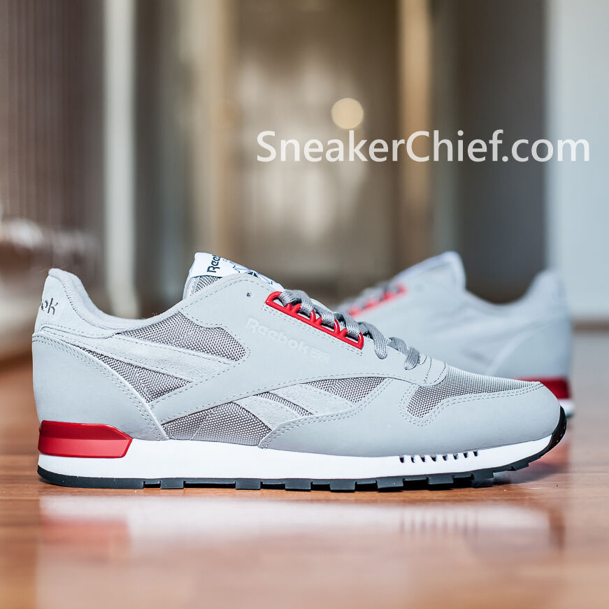 buy popular f698c c1ce8 REEBOK CLASSIC LEATHER RETRO MENS COMFORT CASUAL SHOES FLAT GREY SCARLET  V62855   eBay