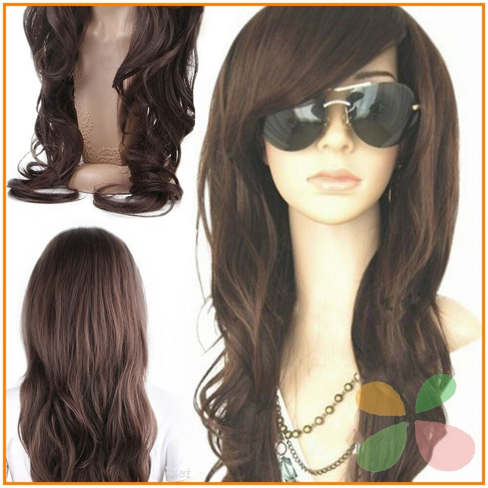 Dark Brown Glamour Long Wig Fashion Full Curly Wavy Human Hair New ...