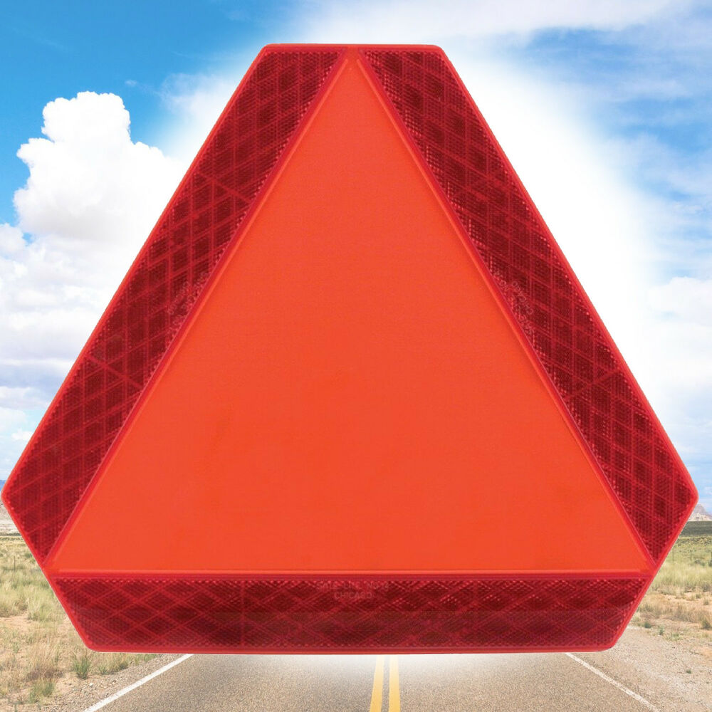 Big Slow Moving Tractor Sign : Reflective triangle car roadside safety signal slow moving