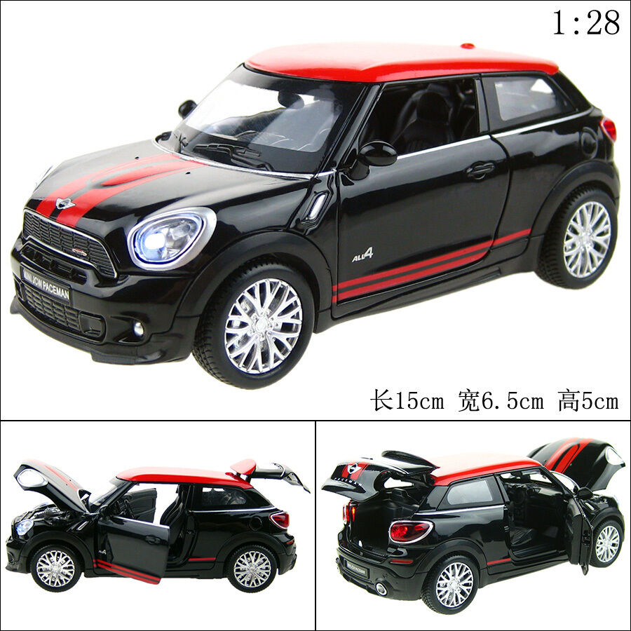 1 28 mini cooper paceman alloy diecast car model toy vehicle sound ligh t black ebay. Black Bedroom Furniture Sets. Home Design Ideas