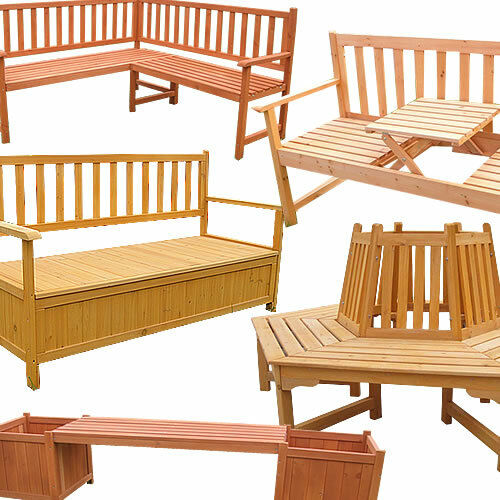 gartenbank holz sitzbank gartentruhe eckbank holzbank baumbank sitzgruppe neu ebay. Black Bedroom Furniture Sets. Home Design Ideas