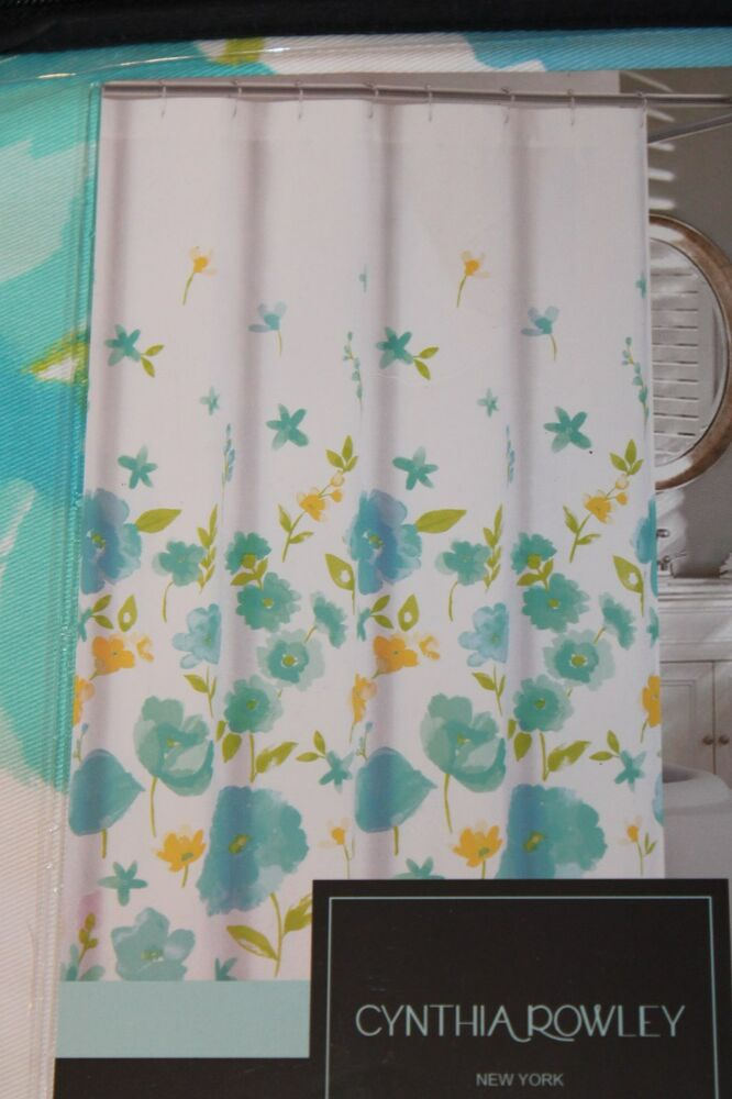 cynthia rowley cindy poppy ombre blue floral fabric shower curtain 72x72 new