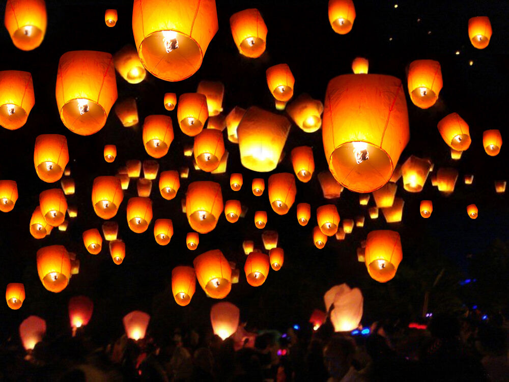 50 White Paper Chinese Lanterns Sky Fire Fly Candle Lamp ...