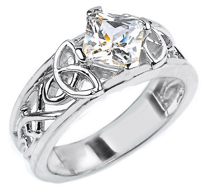 10k White Gold Celtic Knot Princess Cut CZ Engagement Ring