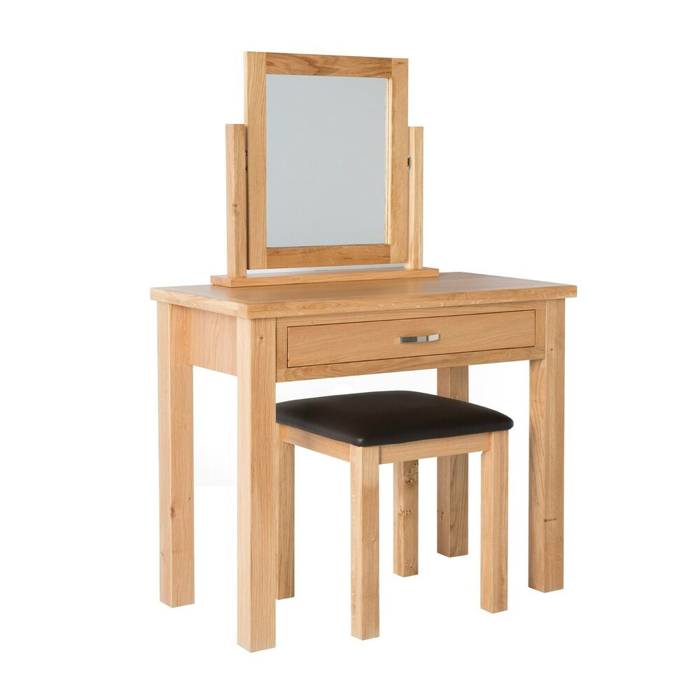 London oak dressing table set light oak with stool mirror brand new ebay - Stool for vanity table ...