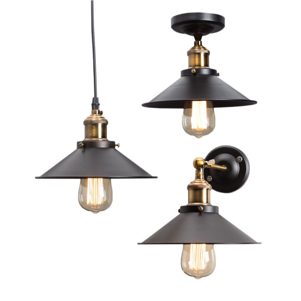 Wall Pendant Light: Vintage Industrial Metal Ceiling/ Hanging/ Wall Lamp