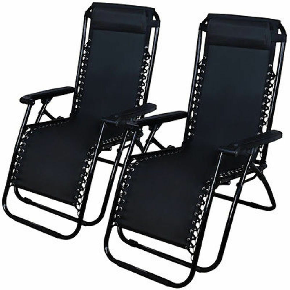 Zero Gravity Chairs Case 2 Black Lounge Patio Chairs