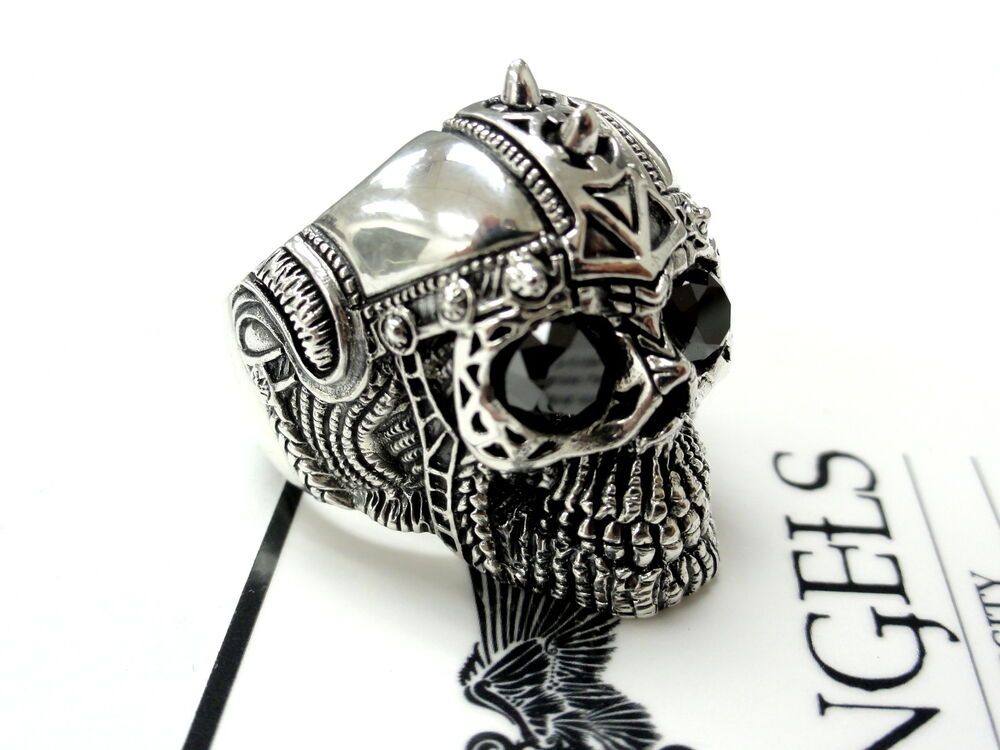 s 14k white gold skull ring with black diamonds ebay