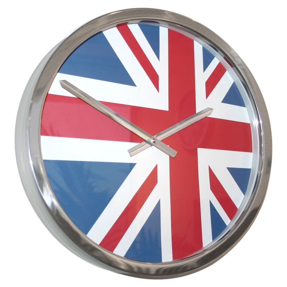 roco verre giant flag time zone wall clocks uk usa and