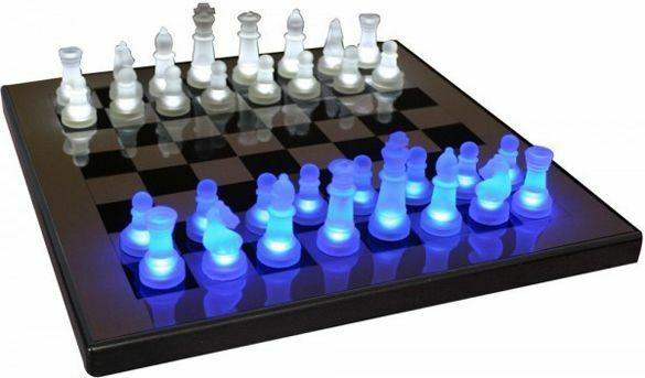 Lumisource led light up chess set blue white modern board for Modern tabletop accessories