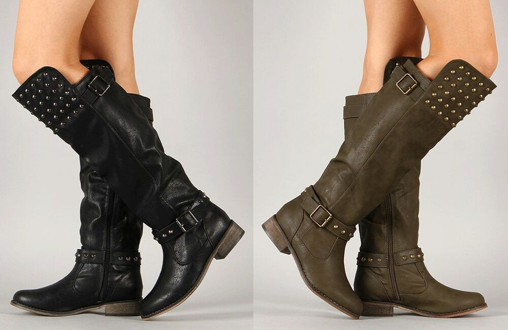 s studded buckle boot knee high