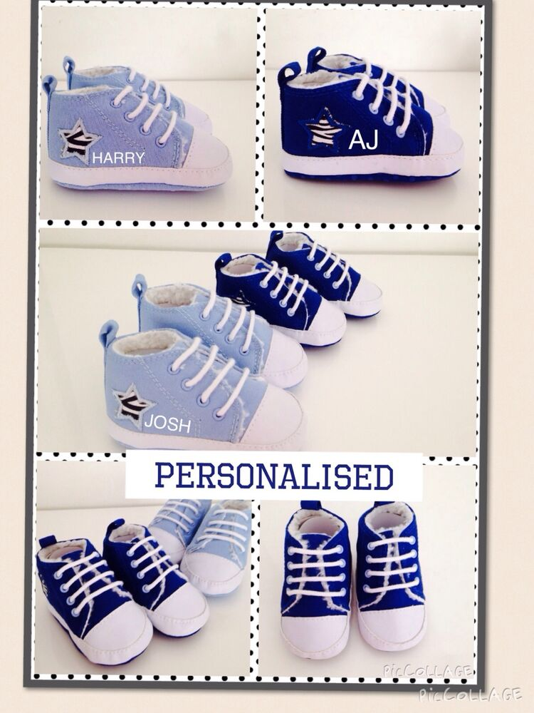 Baby Gifts Unique Uk : Fantastic baby boys personalised shoes trainers any