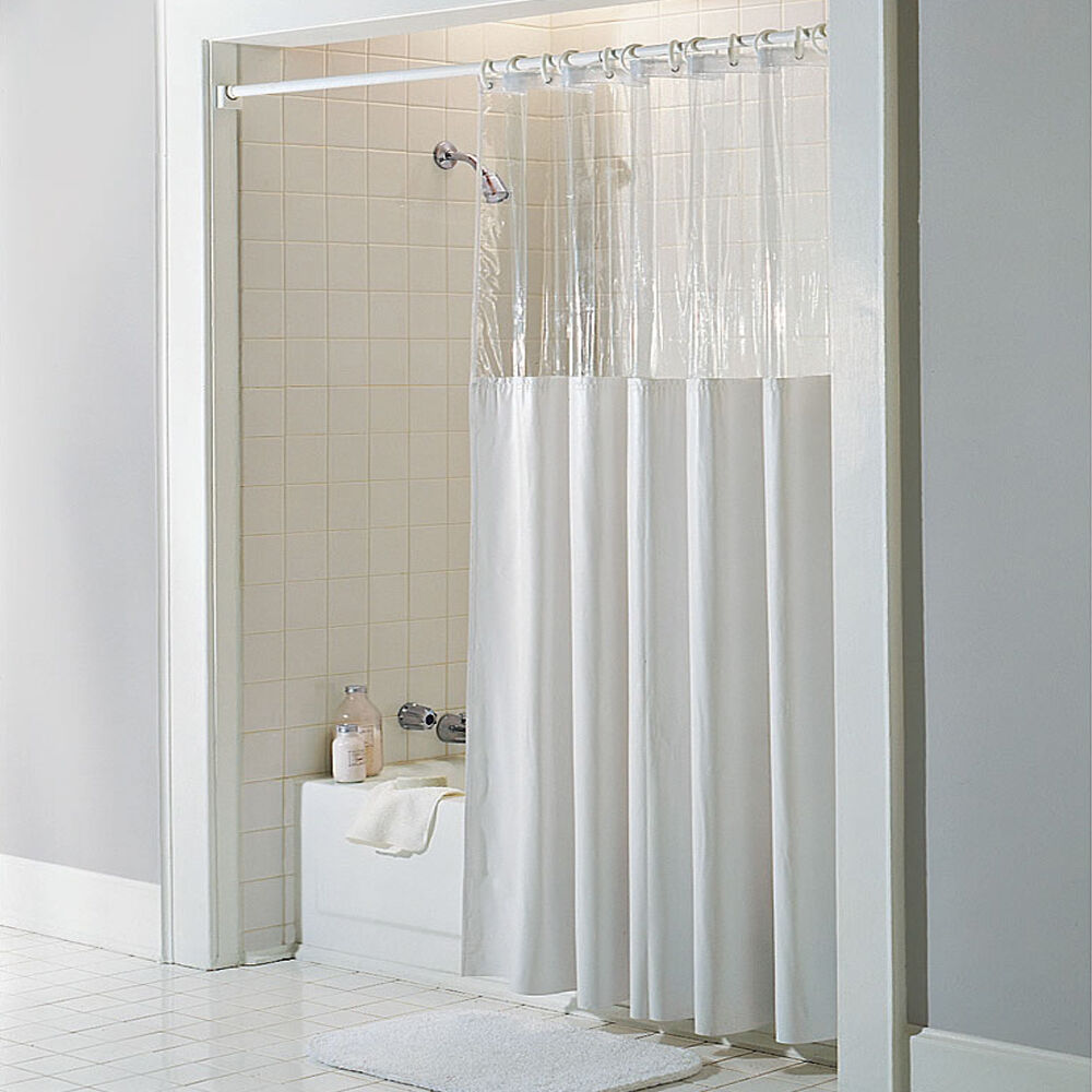 See Through Top Clear/White Vinyl Bath Shower Curtain 72