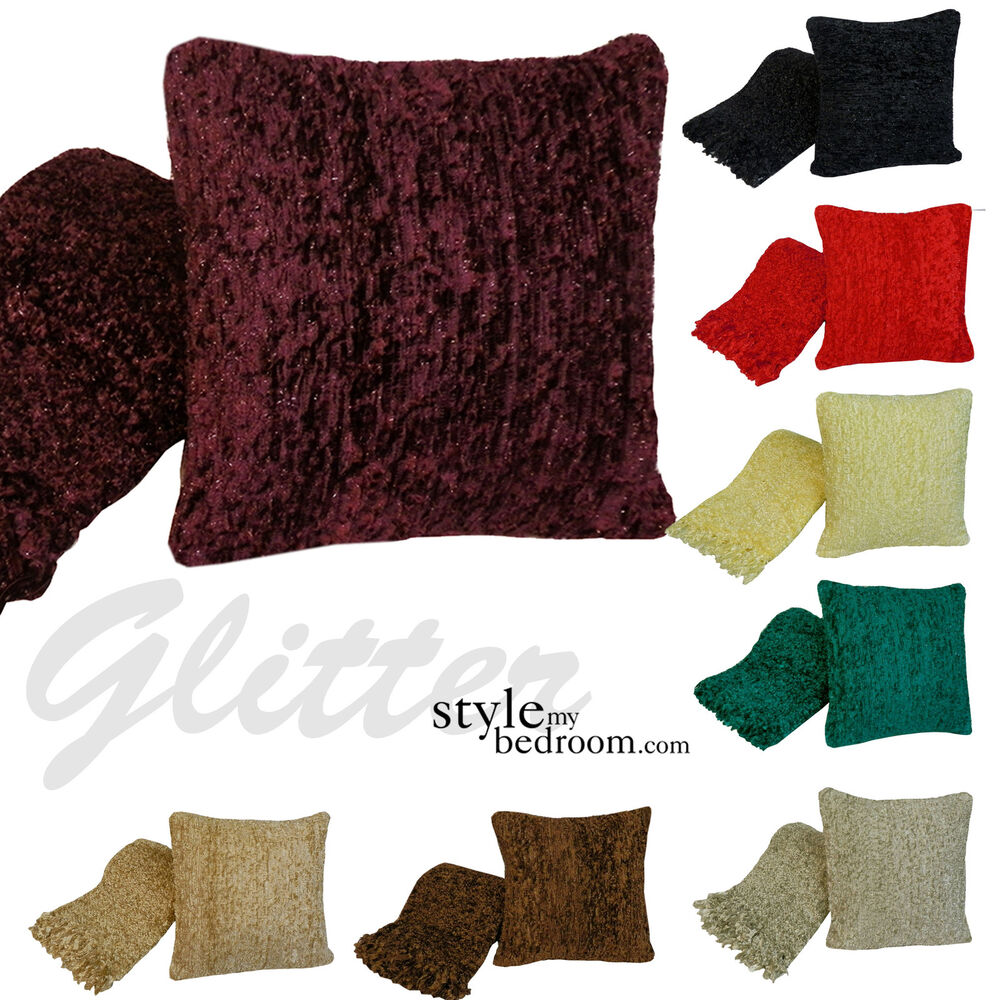 Woven chunky glitter shimmer sofa bed throw cuhsions for Style my bedroom