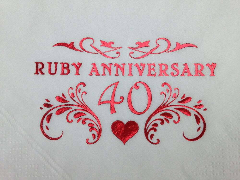 Ruby th wedding anniversary quality white ply