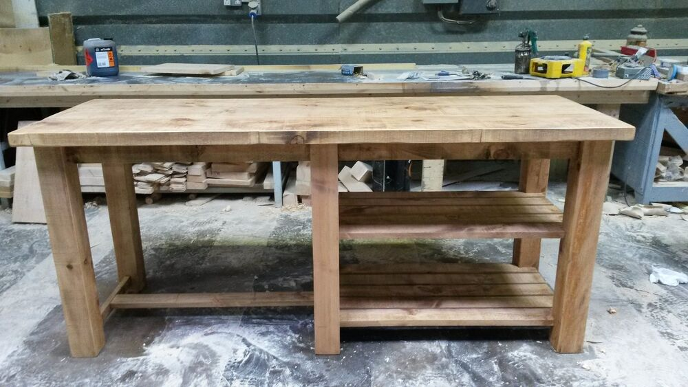New Solid Wood Rustic Chunky Plank Breakfast Bar Kitchen