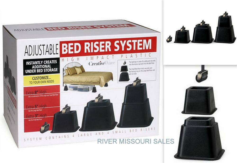 Image Result For  Black Bed Risers Set Of