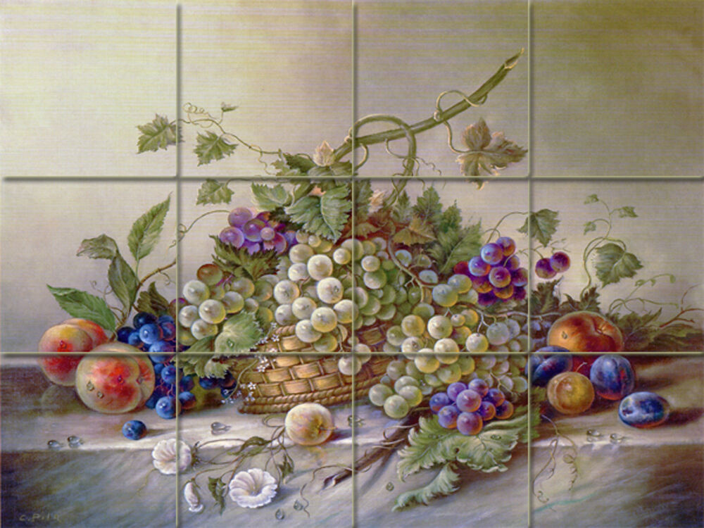 Art mural ceramic grape decor backsplash bath tile 78 ebay for Artwork on tile ceramic mural