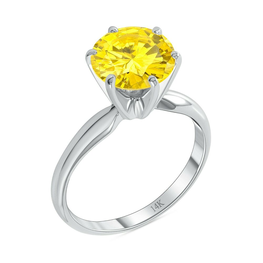 ct round yellow canary 14k white gold solitaire. Black Bedroom Furniture Sets. Home Design Ideas