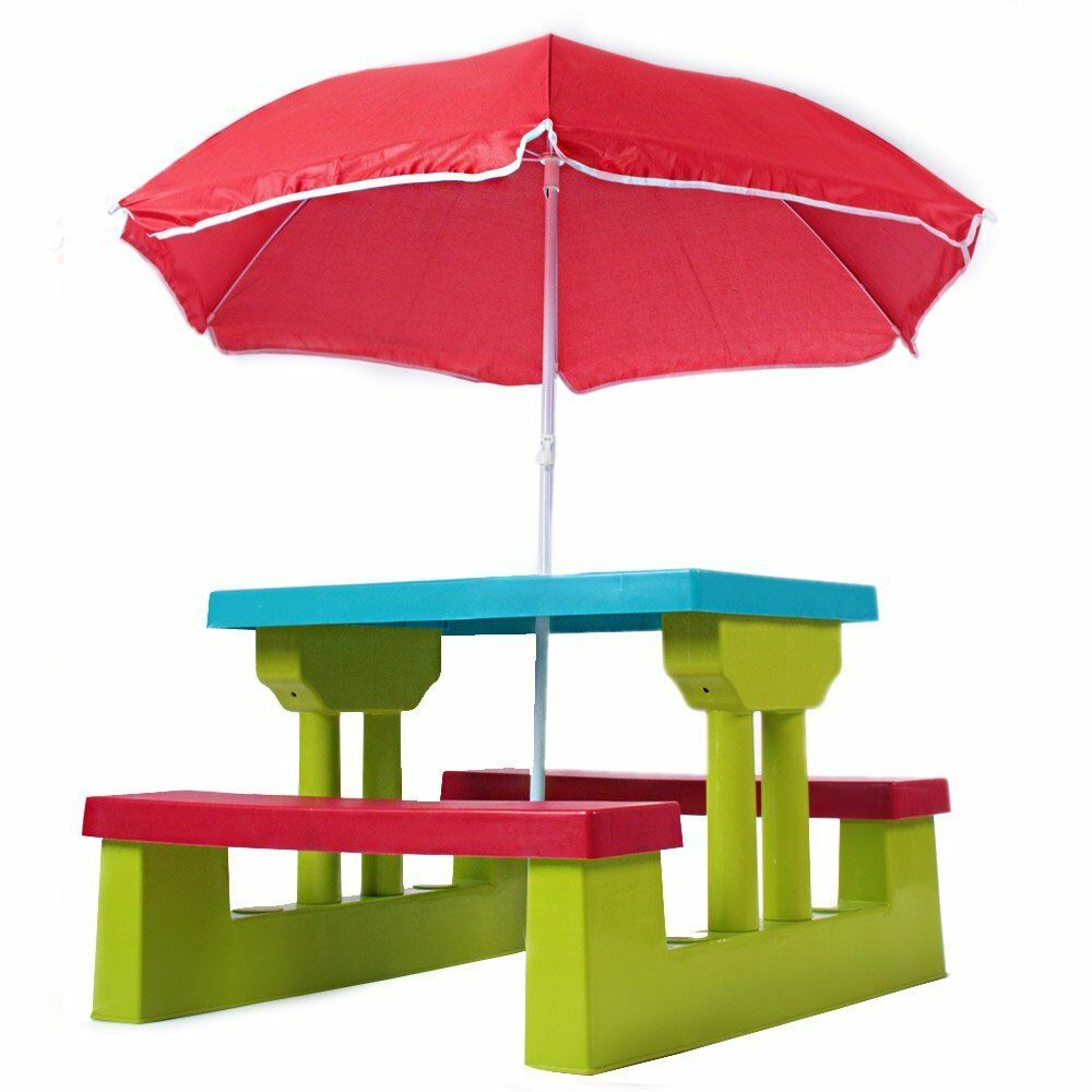 child picnic bench table kid umbrella patio outdoor children toddler seat garden ebay. Black Bedroom Furniture Sets. Home Design Ideas