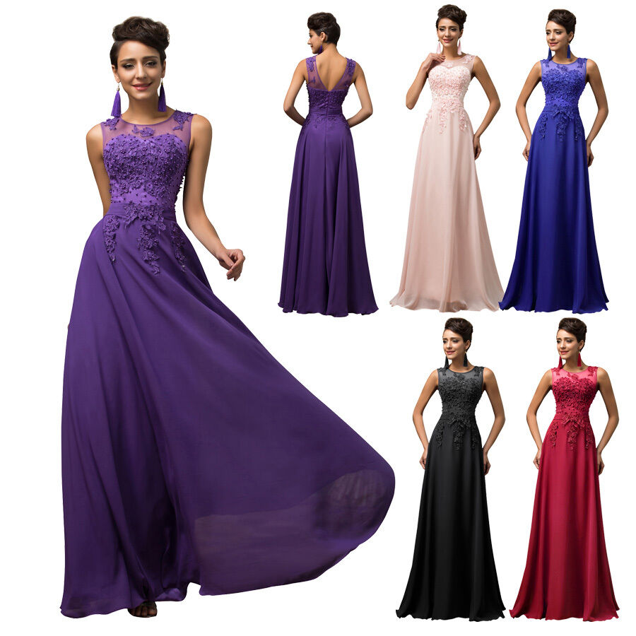 New lace long formal wedding guest bridesmaid gown evening for Ebay wedding guest dresses