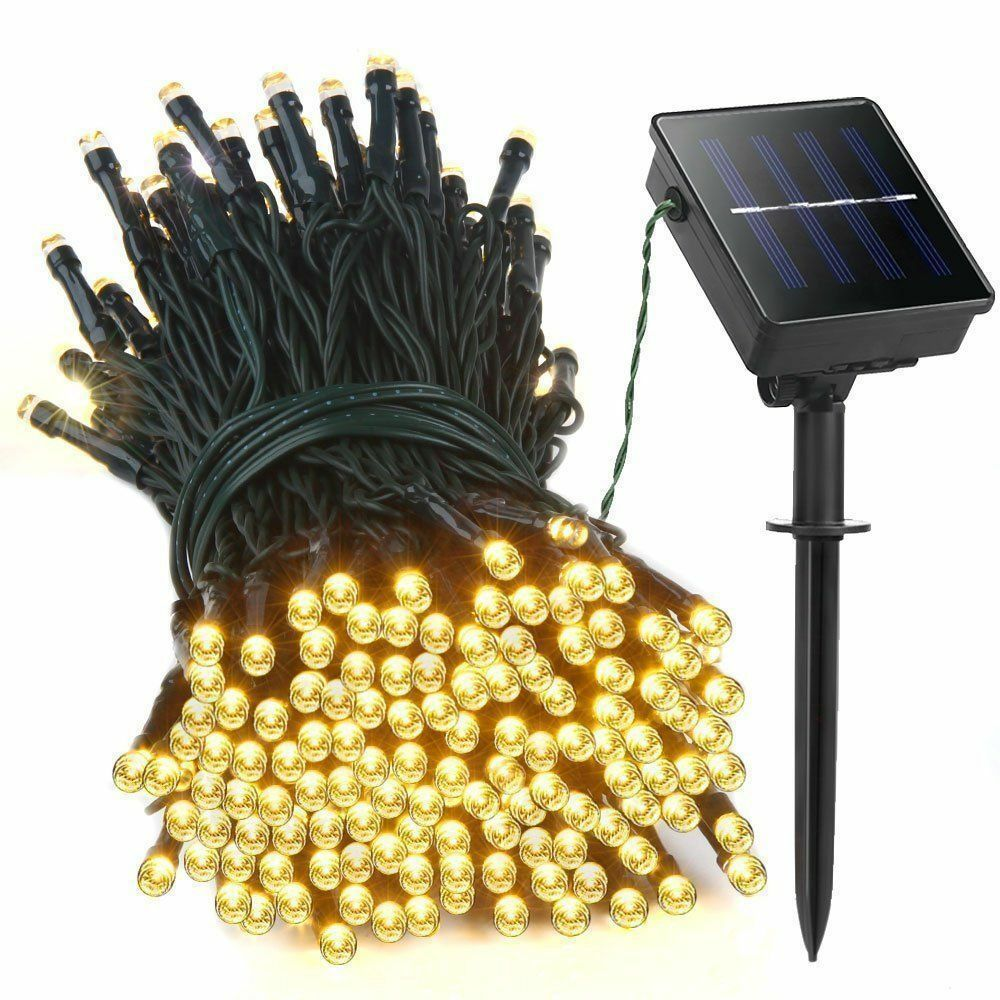 Cool White Solar Power 200 LED String Fairy Light Outdoor
