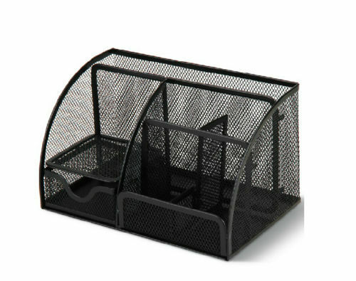 Black Metal Mesh Desktop Organizer Desk Pen Holder Desk