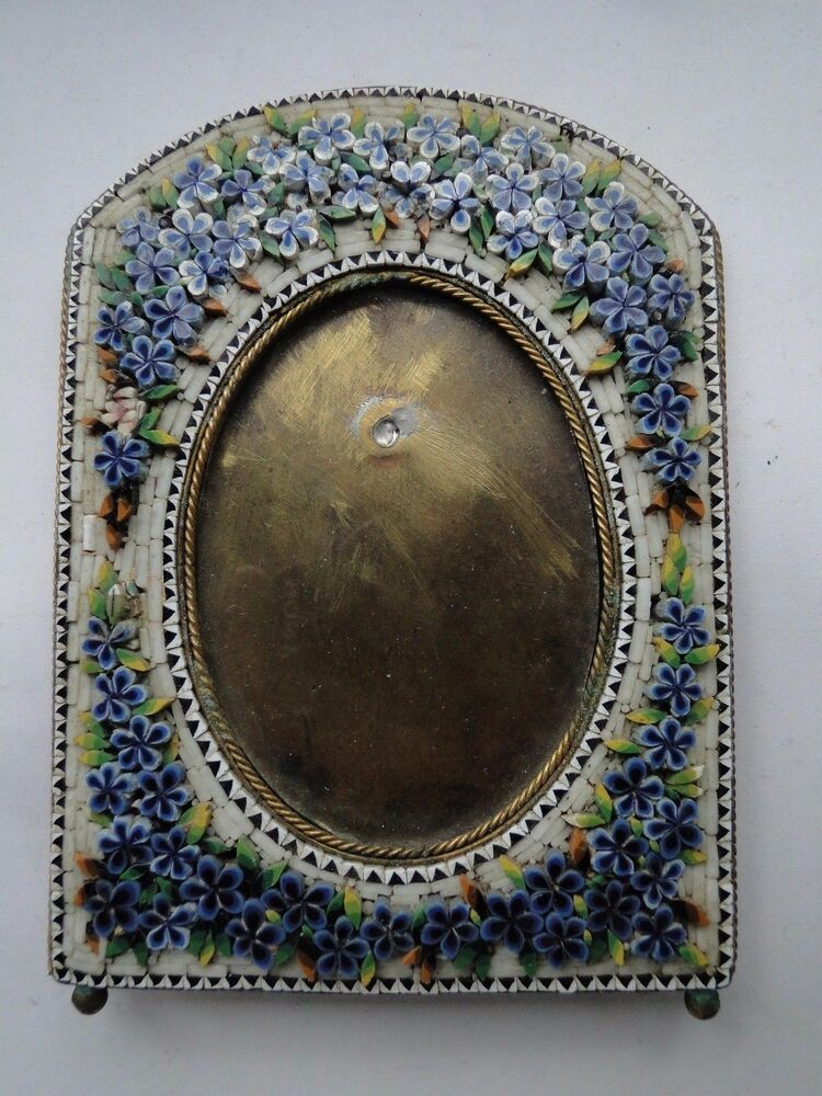 antique micro mosaic picture frame circa 1870 small size. Black Bedroom Furniture Sets. Home Design Ideas