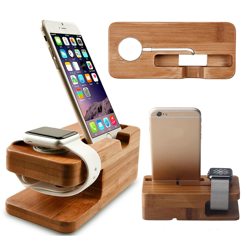 Wood bamboo charging dock station charger stand holder for