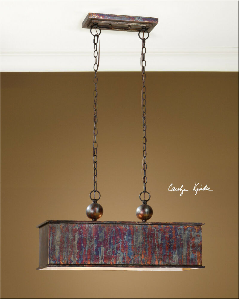 "28"" METALLIC OXIDIZED COPPER WASH HANGING PENDANT LIGHT"