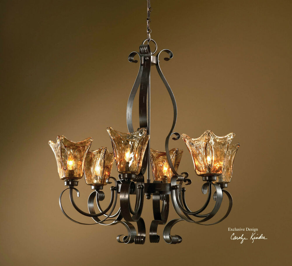 "Chandelier Lighting Glass: LARGE 31"" IRON & GLASS HANGING CHANDELIER / CEILING"
