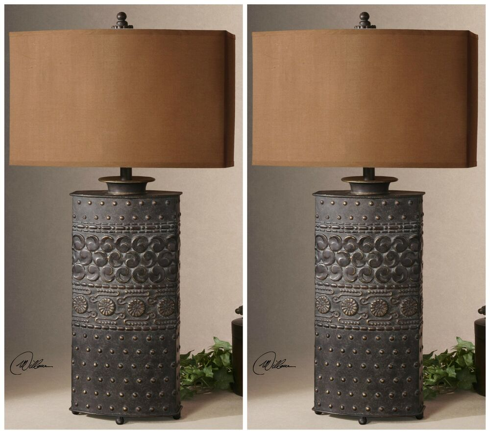 Two Rustic Bronze Metal Mexico Style Table Lamps Gold