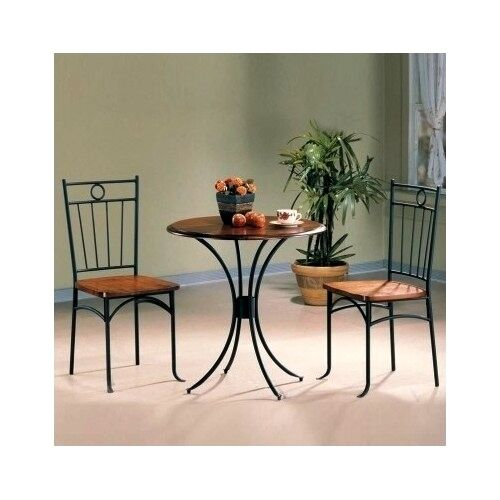 3 Piece Bistro Set Table Chairs Outdoor Patio Deck Pool