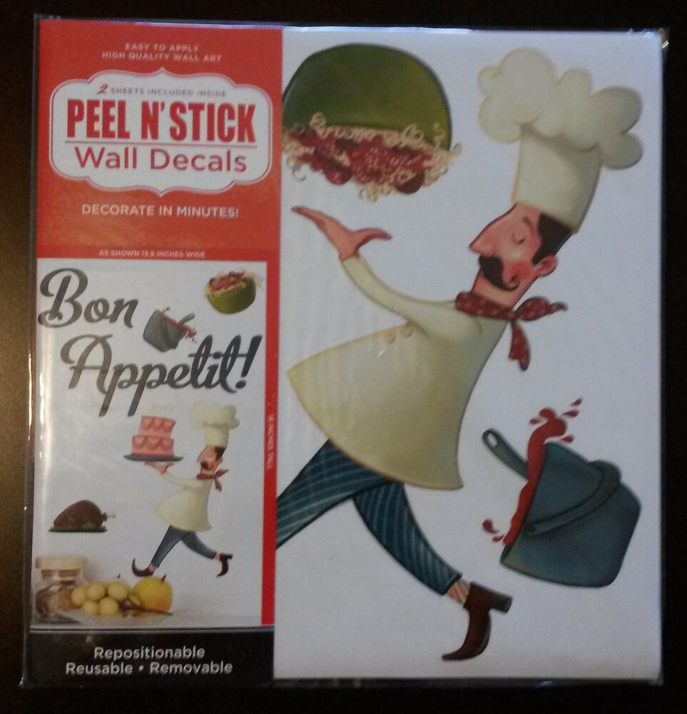 Fat Chef Wall Decal Stickers 2 Sheets Removable Peel
