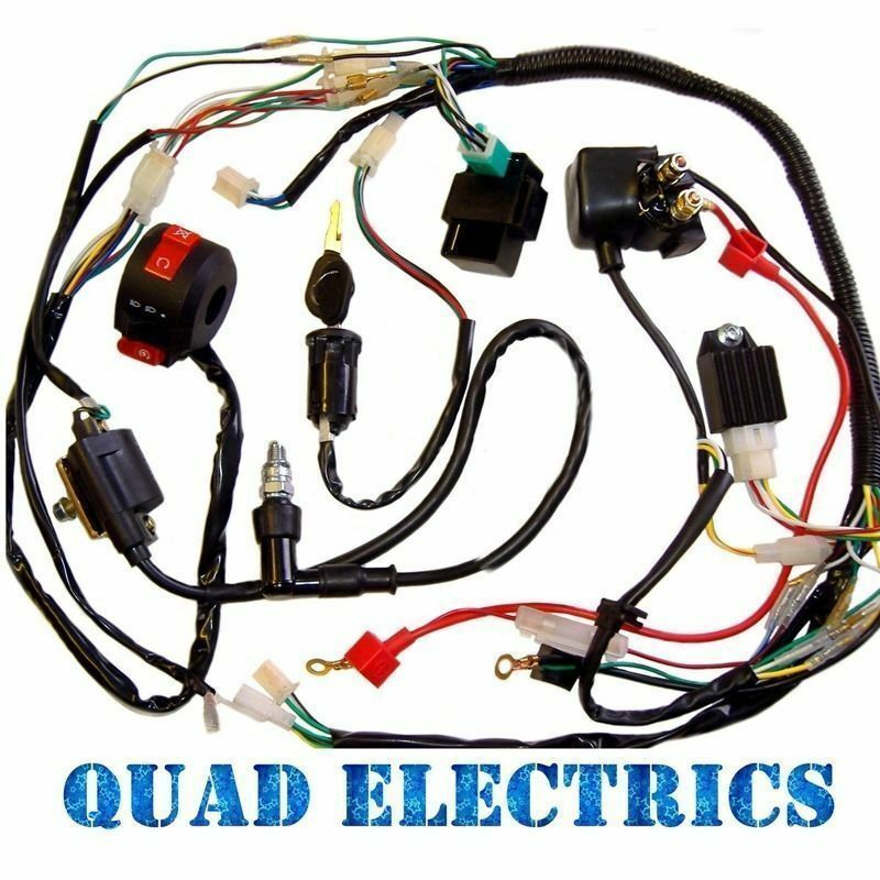 full electrics wiring harness loom solenoid coil 70cc 110cc atv full electrics wiring harness loom solenoid coil 70cc 110cc atv quad bike monst
