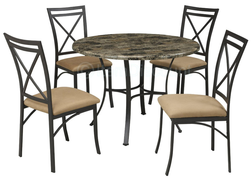 5 Pc Faux Marble Dining Round Kitchen Table Set Chairs