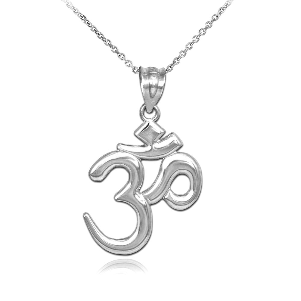 solid silver om ohm pendant necklace ebay