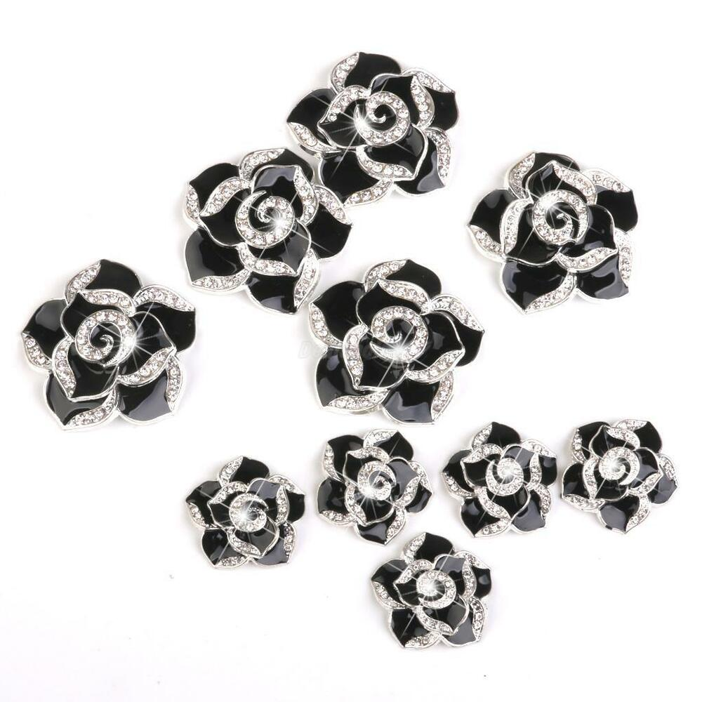 10x 3D Alloy Bling Crystal Camellia DIY For Cell Phone iPhone Case ...