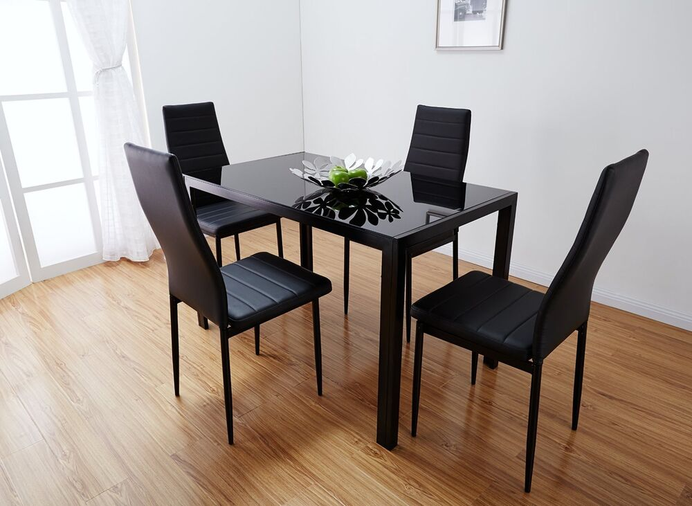 Designer Glass Table And Chairs: Designer Rectangle Glass Dining Table Set And 4 Black Faux