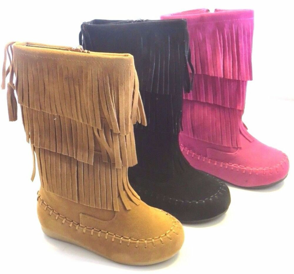 Girl Suede Fringe Boot Candice Toddler Moccasin