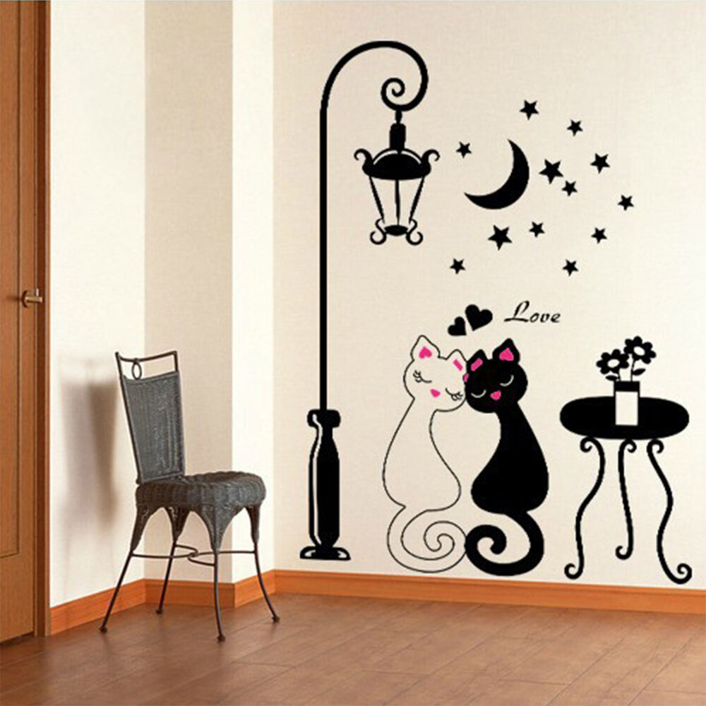 diy black couple cat removable wall decal stickers art home decor living room ebay. Black Bedroom Furniture Sets. Home Design Ideas
