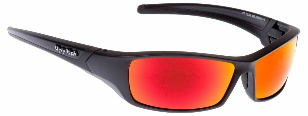 38d8a2c69e7 Ugly Fish Sunglasses Matt Black With Red Lens Sports Shades Eyewear RS5228  9338989004186