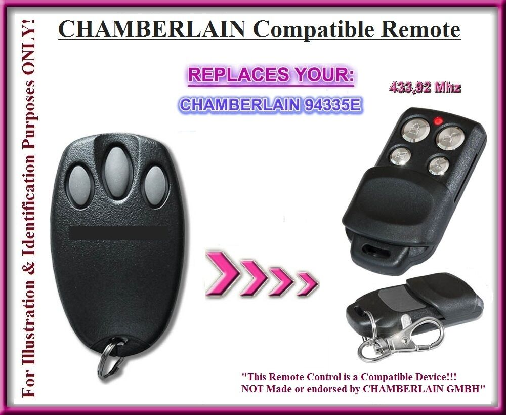 compatible with chamberlain 94335e remote control 433 92mhz rolling code ebay. Black Bedroom Furniture Sets. Home Design Ideas