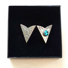 Handcrafted Southwestern Silver Shirt Collar Tips w/ Genuine Turquoise Stones