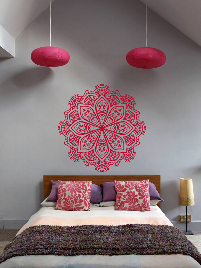 Ik368 Wall Decal Sticker Mandala Hamsa Hand Buddha Hindu