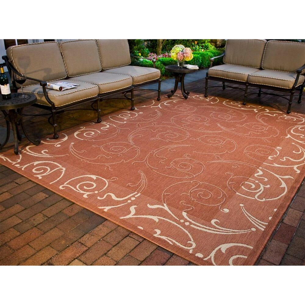 Indoor Outdoor Oasis Terracotta Natural Area Rug 9 x 12