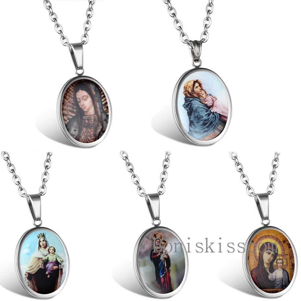 stainless steel jesus virgin mary medal pendant mens. Black Bedroom Furniture Sets. Home Design Ideas